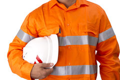 Nadzorca z budowa ciężkim kapeluszem i wysoką widoczności koszula obraz stock