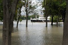 Nadzwyczajna powódź na Danube rzece w Bratislava, zdjęcia stock