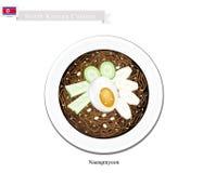 Naengmyeon eller koreanska kalla nudlar med ägget och Kimichi vektor illustrationer