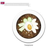 Naengmyeon or Korean Cold Noodles with Egg and Kimichi Stock Images