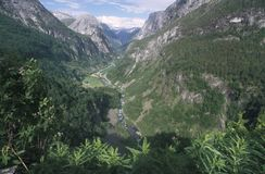 "The Naeroy Valley in south-western Norway, as seen from the Stalheim Hotel. The valley can be seen as part of the world-famous "". Norway in a nutshell stock photo"