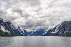Naeroyfjord入口在南挪威 库存图片