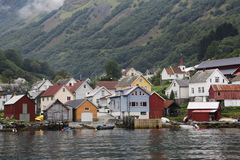 Naeroyfjord和Aurlandsfjord 免版税库存图片