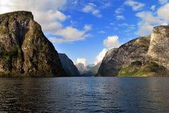 Naeroyfjord en Noruega, sitio del patrimonio mundial de la UNESCO fotos de archivo libres de regalías
