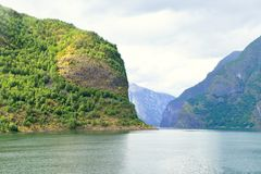 Naeroyfjord en Noruega Sitio del patrimonio mundial de la UNESCO foto de archivo libre de regalías