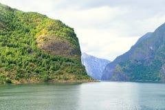 Naeroyfjord in Norvegia Luogo del patrimonio mondiale dell'Unesco fotografia stock libera da diritti