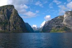 Naeroyfjord in Norvegia, luogo del patrimonio mondiale dell'Unesco Fotografia Stock
