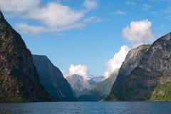 Naeroyfjord in Norvegia (patrimonio mondiale dell'Unesco) Fotografie Stock Libere da Diritti