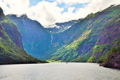 Naeroyfjord in Norway. Unesco World Heritage site. Royalty Free Stock Image