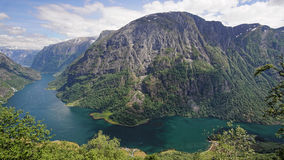 Naeroyfjord in Norwegen Lizenzfreies Stockbild