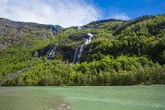 Naeroyfjord waterfalls Stock Photography
