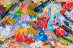 Nafciana farba, różni typ muśnięcia i paleta, Obrazy Stock
