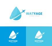 Nafciana i samolotowa logo kombinacja Opadowa i podróż ikona lub symbol Unikalny lota aqua i wody logotyp projektuje szablon Zdjęcie Stock