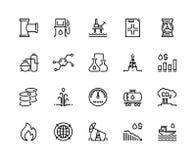 Nafciane kreskowe ikony Benzynowego paliwa stacja, chemicznego przemysłu benzyny zbiornik, ponaftowej rafinerii fabryka, wieża wi ilustracja wektor