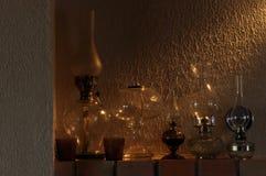 Nafciane lampy Ornament na mantelpiece Źródło światła Zdjęcia Stock