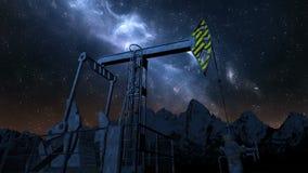 Nafcianej pompy dźwigarka pod nocnym niebem zbiory