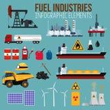 Nafciani i Paliwowi przemysłu Infographics elementy Obrazy Stock