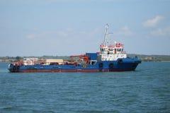 Nafciany badanie i sejsmiczny naczynie statek w morzu lub zdjęcia stock