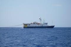Nafciany badanie i sejsmiczny naczynie statek w morzu lub obraz stock