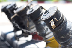 Nafciany plombowania klepnięcie w benzyny staci Fotografia Royalty Free