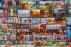 Nafcianych farb galeria na miasto ścianach Krakow zdjęcia stock