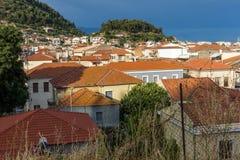 Nafpaktos镇,西部希腊惊人的全景  库存照片