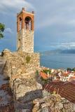 Nafpaktos镇,西部希腊惊人的全景  库存图片
