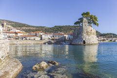 Nafpaktos,希腊海滨堡垒  库存图片