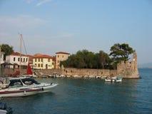 Nafpaktos harbor at Acarnania and Aetolia Greece royalty free stock image