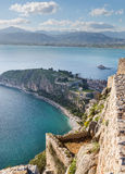 从Palamidi堡垒, Nafplio,希腊的看法 免版税库存图片