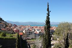 Nafplio aerial panoramic view from Palamidi fortress in Greece. Europe royalty free stock images