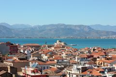 Nafplio aerial panoramic view from Palamidi fortress in Greece. Europe royalty free stock photo
