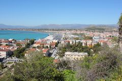 Nafplio aerial panoramic view from Palamidi fortress in Greece. Europe stock photos