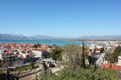 Nafplio aerial panoramic view from Palamidi fortress in Greece. Europe royalty free stock photos
