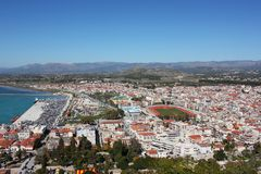 Nafplio aerial panoramic view from Palamidi fortress in Greece. Europe stock photography