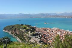 Nafplio aerial panoramic view from Palamidi fortress in Greece. Europe stock image