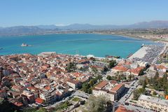 Nafplio aerial panoramic view from Palamidi fortress in Greece. Europe royalty free stock image