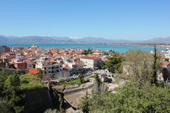 Nafplio aerial panoramic view from Palamidi fortress in Greece. Europe stock images