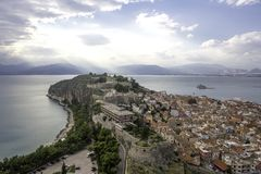 Nafplio aerial panoramic view from Palamidi fortress. Nafplio is a seaport town in the Peloponnese peninsula in Greece. amazing royalty free stock images