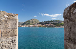 Nafplio as seen from Bourtzi, Peloponnese, Greece Stock Image