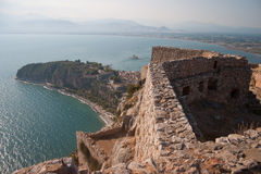 Nafplio bay. View of Nafplio bay from Palamidi fortress, Nafplio city, Greece stock photography