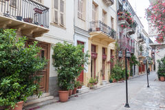Nafplio Blooming Street Greece Stock Image
