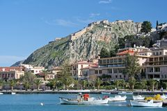 Nafplio, Greece. A view of the port, the old area, and the Palamidi castle of Nafplio, Greece stock photography
