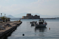 Nafplio, Greece, The castle of Bourtzi Royalty Free Stock Photography