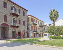 Nafplio, Greece. July 13, 2014: Three Admirals Square with the statue of King Otto Royalty Free Stock Photo