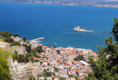 Nafplio, Greece. View of the old part of the city of Nafplio from Palamidi castle, Greece royalty free stock images