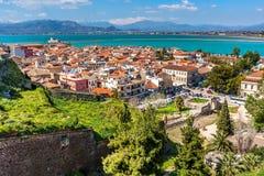 Nafplio, Griechenland-Vogelperspektive lizenzfreies stockbild