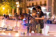 Nafplio miasta nocy życie Fotografia Royalty Free