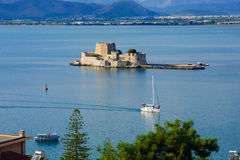 Nafplio. An old fortress island, in Nafplio, Peloponnese, Greece royalty free stock image