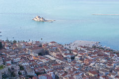 Nafplio and Bourtzi view From Palamidi fortress, Greece Royalty Free Stock Photos